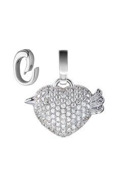 Серебряный шарм петушок с белыми фианитами из родированного серебра 925-й пробы с куб. циркониями (3 2 2 1)