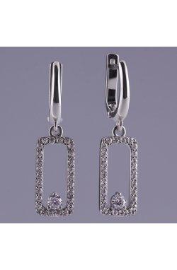 Серебряные серьги прямоугольник в цирконах из родированного серебра 925-й пробы с куб. циркониями ( 43 )