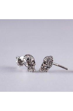 Серебряные серьги череп из родированного серебра 925-й пробы ( 1535 )