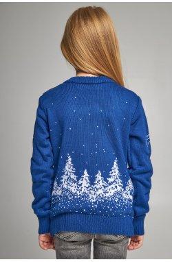 Вязаный свитер для девочки Дед Мороз с оленями синий