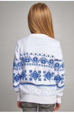 Вязаный свитер для девочки Снежинки с оленями