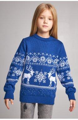 Вязаный свитер для девочки Снежинки с оленями синий