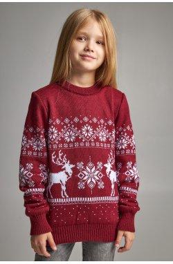 Вязаный свитер для девочки Снежинки с оленями бордовый
