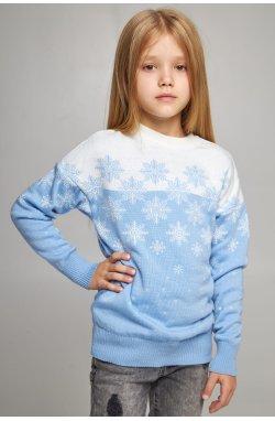 Вязаный свитер для девочки Снежинки голубой
