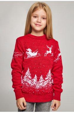 Вязаный свитер для девочки Дед Мороз с оленями красный