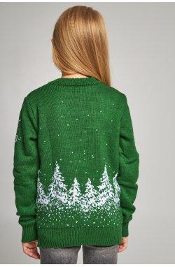 Вязаный свитер для девочки Снежинки с оленями зеленый