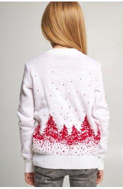 Вязаный свитер для девочки Снежинки с оленями белый