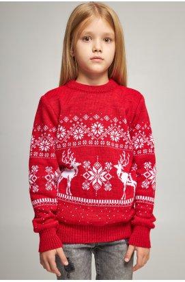 Вязаный свитер для девочки Снежинки с оленями красный