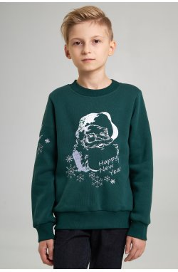 Рождественский свитшот для мальчика Дед мороз, зеленый