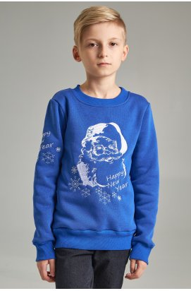Рождественский свитшот для мальчика Дед мороз, синий