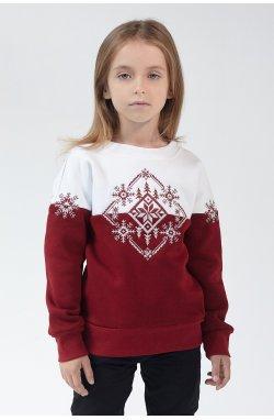 Рождественский свитшоты для девочки Снежинка Burgundy
