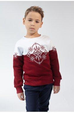 Рождественский свитшот для мальчика Снежинка Burgundy