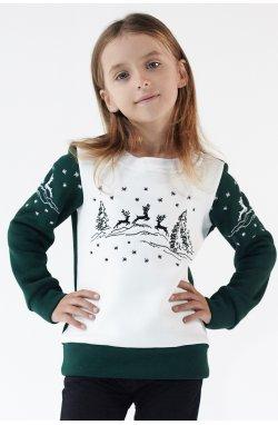 Рождественский свитшот для девочки Green