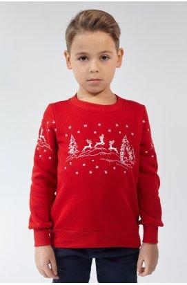 Рождественский свитшот для мальчика Олени Red