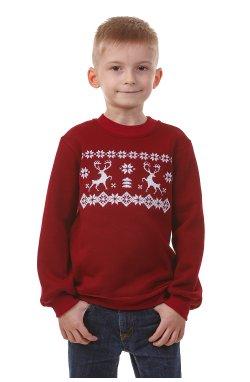 Бордовый рождественский свитшот для мальчиков с оленями