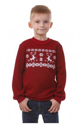 Бордовий різдвяний світшоти для хлопчиків з оленями