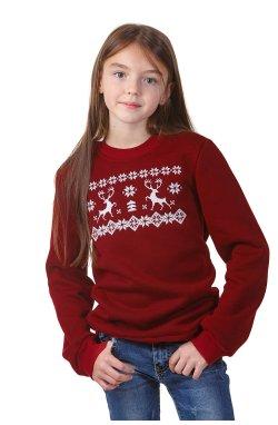 Рождественский свитшот для девочки с оленями