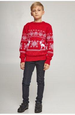 Новогодние вязаные детские свитера для двоих Снежинки с оленями красные