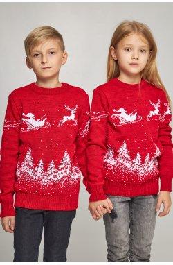 Новогодние вязаные детские свитера для двоих Дед мороз с оленями красные