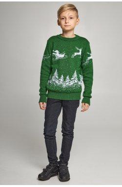 Новогодние вязаные детские свитера для двоих с Оленями зеленые