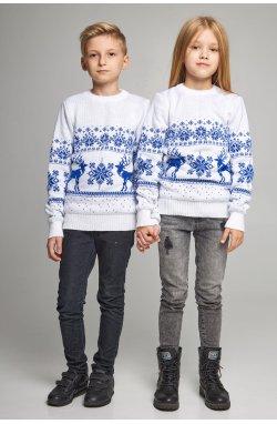 Новогодние вязаные детские свитера для двоих с Оленями белые