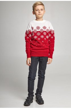 Новогодние вязаные детские свитера для двоих Снежинки красные