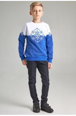 Новогодние детские свитера для двоих Снежинка синие