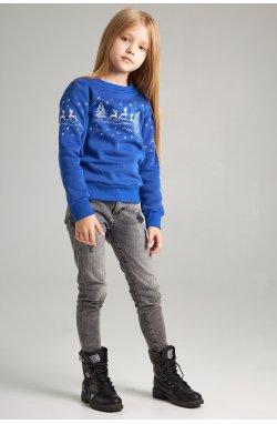 Новогодние детские свитера для двух с оленями синие