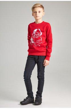Новогодние детские свитера для двух с Дедом морозом красные