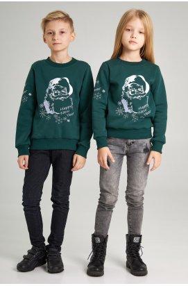 Новогодние детские свитера для двоих с Дедом морозом зеленые