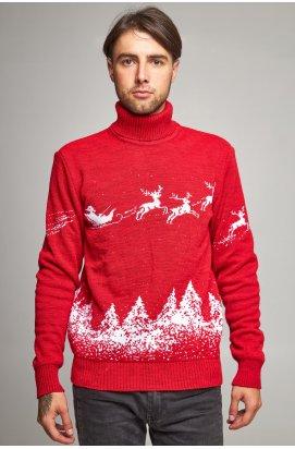 Мужской новогодний вязаный свитер с Оленями 10