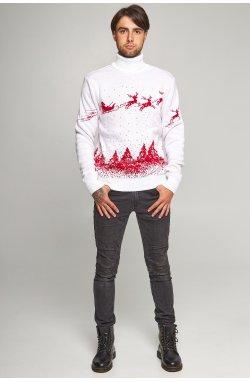 Новогодний вязаный свитер с Оленями 9