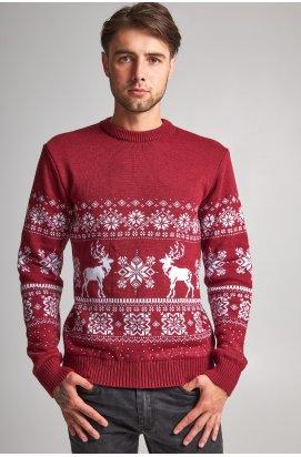 Новогодний вязаный мужской свитер с Оленями 8