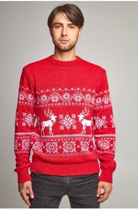 Новорічний в'язаний чоловічий светр з Оленями 6
