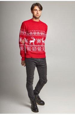 Новогодний вязаный свитер с Оленями 6