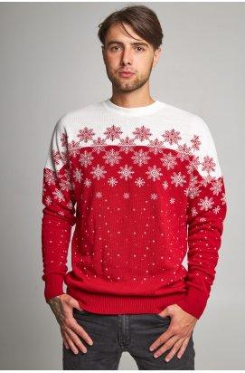 Новогодний вязаный мужской свитер со звездами