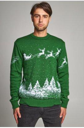 Новорічний в'язаний чоловічий светр з Оленями 4