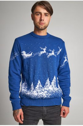 Новорічний в'язаний чоловічий светр з Оленями 3