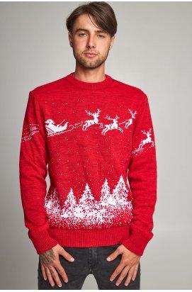 Новорічний в'язаний чоловічий светр з Оленями 2
