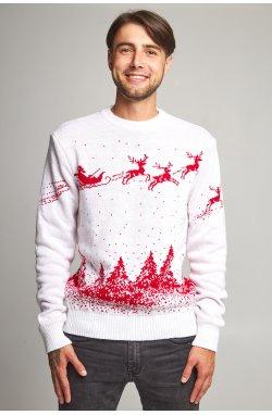 Новогодний вязаный свитер с Оленями
