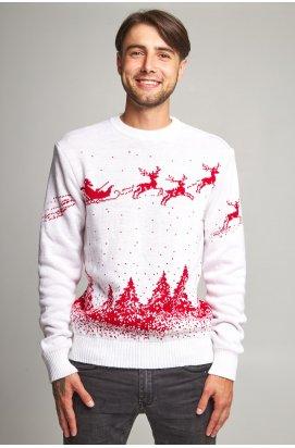Новогодний вязаный мужской свитер с Оленями