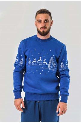 Мужской новогодний свитшот с оленями