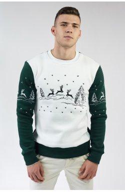 Рождественский мужской свитшот Олени Green