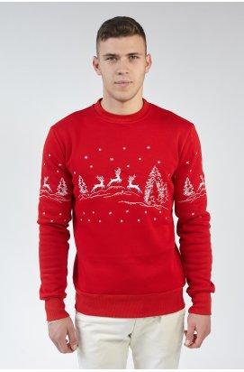 Рождественский мужской свитшот c Оленями Red