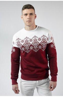 Мужской рождественский свитшот Снежинка Burgundy