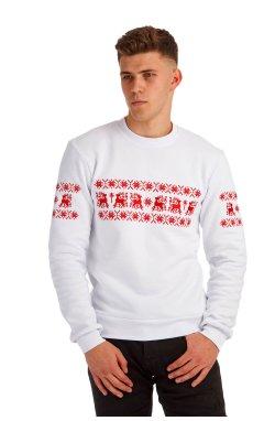 Белый рождественский мужской свитшот с оленями