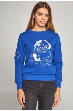Женский вышитый свитшот Дед Мороз синий