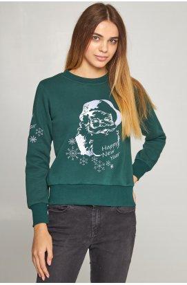 Жіночий вишитий світшоти Дід Мороз зелений