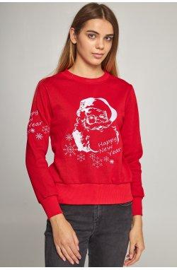 Женский вышитый свитшот Дед Мороз красный