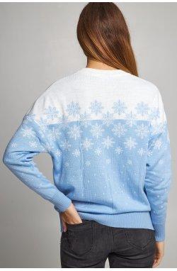 Женский вязаный свитер Снежинки голубой